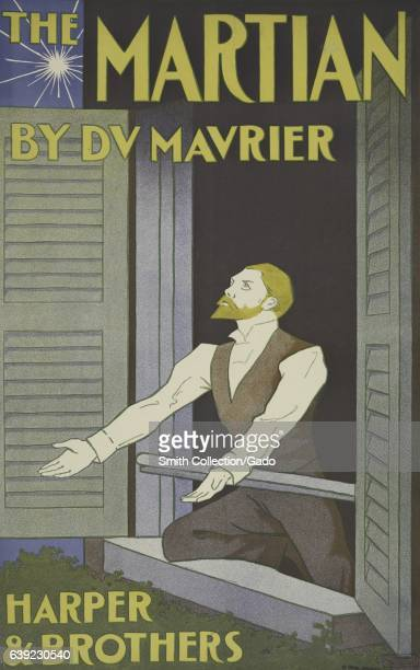 Poster advertisement for a book titled The Martian by DV Mavrier which depicts a man looking up towards the sky with his arms widespread out the...