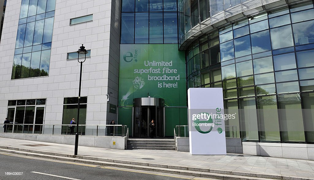 A poster advertises Eircom Group's new eFibre broadband product outside the company's headquarters in Dublin, Ireland, on Thursday, May 23, 2013. Eircom Group, which has changed ownership six times since 1999, 'would like to be consolidators rather than consolidated' amid expected mergers and acquisitions in the Irish telecoms market, its Chief Financial Officer Richard Moat said. Photographer: Aidan Crawley/Bloomberg via Getty Images