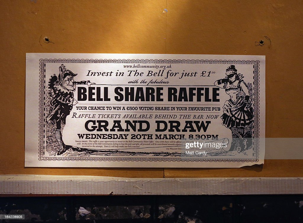 A poster advertises the Bell share offer is displayed inside the Bell Inn in Walcot Street on March 21, 2013 in Bath, England. Customers of the popular music venue have raised 720000 GBP to buy the pub from its current owner in a campaign to save it, which has been backed by rock stars including Robert Plant and Peter Gabriel. When the pub was put up for sale, customers launched a buyout with shares priced from 500 GBP to 20,000 GBP to initially raise 500,000 GBP with a loan to cover the shortfall in the asking price of 925,000 GBP.