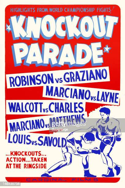 Poster advertises the boxing documentary 'Knockout Parade which features highlights from a number of boxing matches 1953