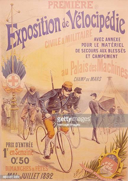 Poster advertising a bicycle exposition 1892 French soldiers riding bicycles past a civilian with a bicyle In the distance is a tent with an injured...