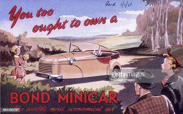 Poster advertising a Bond Minicar 1951 Out in the countryside The young girl is holding a posy of flowers