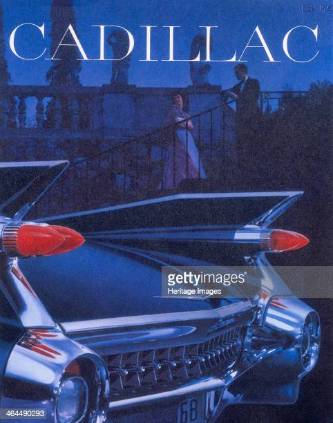 Poster advertising a Cadillac 1959 The back detail of the car A couple in evening dress can just be seen in the background