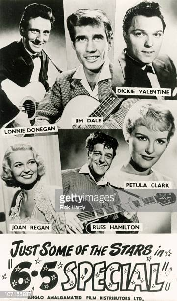 A poster advertising a film version of the British music TV show the 65 Special circa 1958 The featured artists are Lonnie Donegan Jim Dale Dickie...