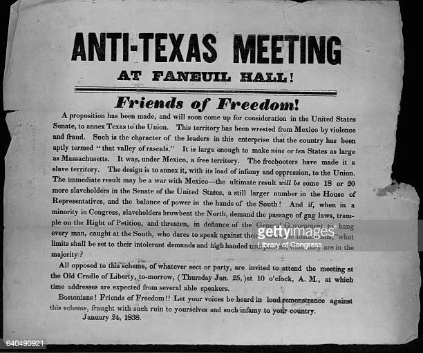 A poster advertising an AntiTexas annexation meeting in Boston January 24 1838