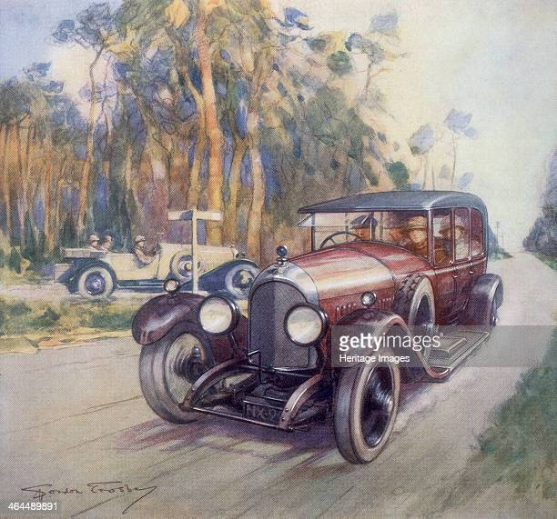 Poster advertising Bentley cars 1927 A 3litre Bentley driving down a country road This image highlights a golden era for Bentley its car dominating...