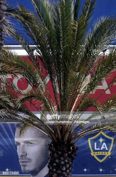 A poster advertising David Beckham who is looking doubtful for Saturday's game against Chelsea in Los Angeles USA