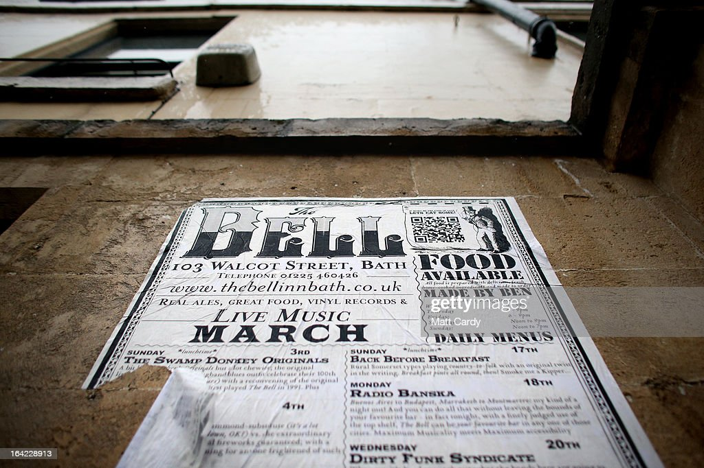 A poster advertising the Bell share offer is displayed outside the Bell Inn in Walcot Street on March 21, 2013 in Bath, England. Customers of the popular music venue have raised 720000 GBP to buy the pub from its current owner in a campaign to save it, which has been backed by rock stars including Robert Plant and Peter Gabriel. When the pub was put up for sale, customers launched a buyout with shares priced from 500 GBP to 20,000 GBP to initially raise 500,000 GBP with a loan to cover the shortfall in the asking price of 925,000 GBP.