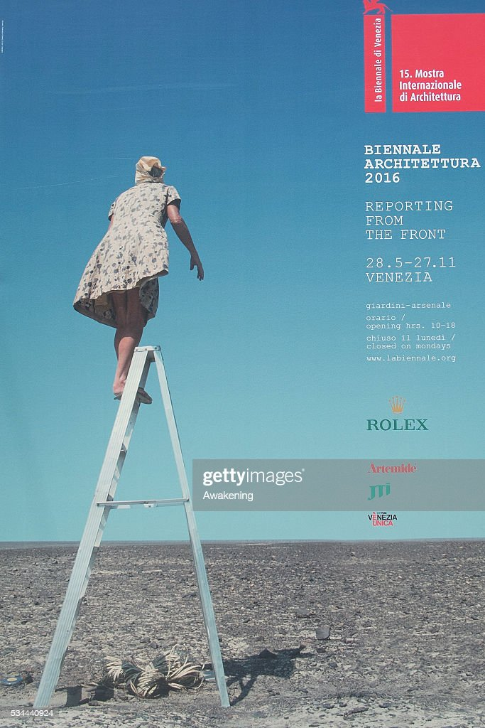 A poster announcing the 15th Architecture Venice Biennale is seen near the Arsenale, on May 26, 2016 in Venice, Italy. The 15th International Architecture Exhibition of La Biennale di Venezia will be open to the public from May 28 to November 27 in Venice, Italy.