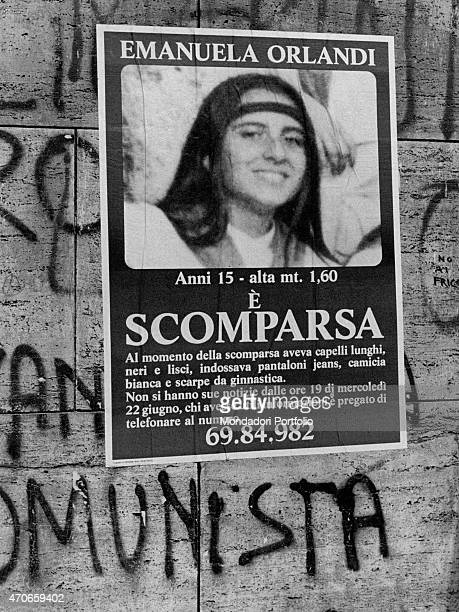 'A poster announcing the vanishing of Emanuela Orlandi daughter of a clerk of the pontifical prefecture the girl 15 years old suddenly disappeared on...