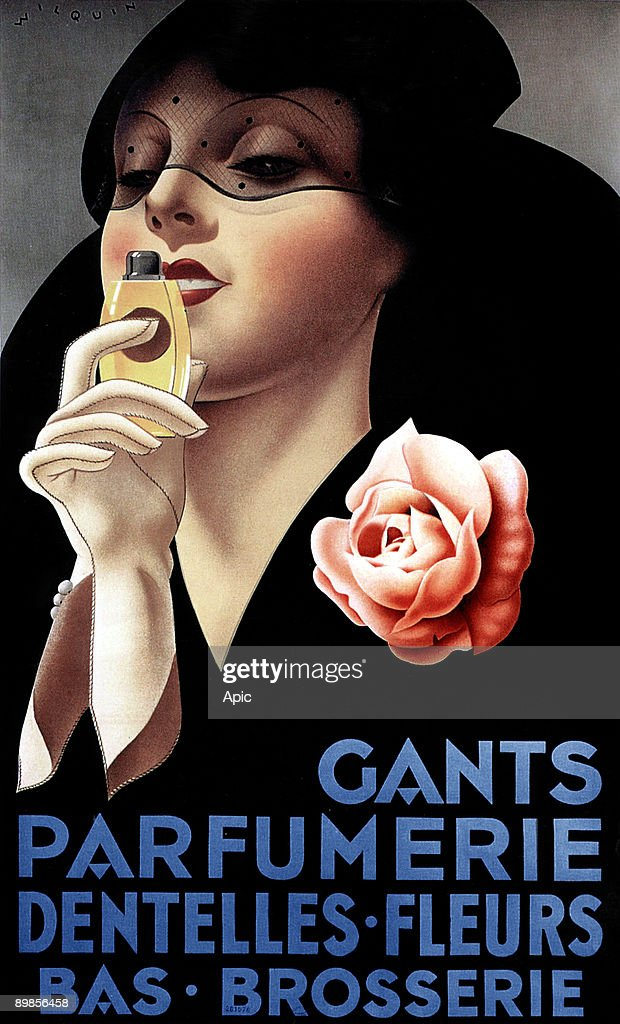 Poster by Andre Wilquin for gloves, perfumery, laces, stockings showing a woman smelling a flask perfume, 1934