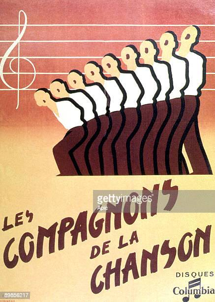 Poster by Engel and Popineau for french singers Compagnons de la chanson 1946