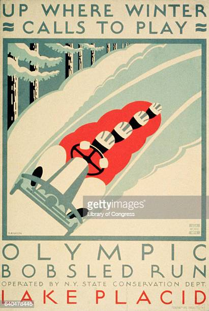 A poster by Jack Rivolta produced under the Work Projects Administration advertises use of the Olympic bobsled run at Lake Placid New York The run...
