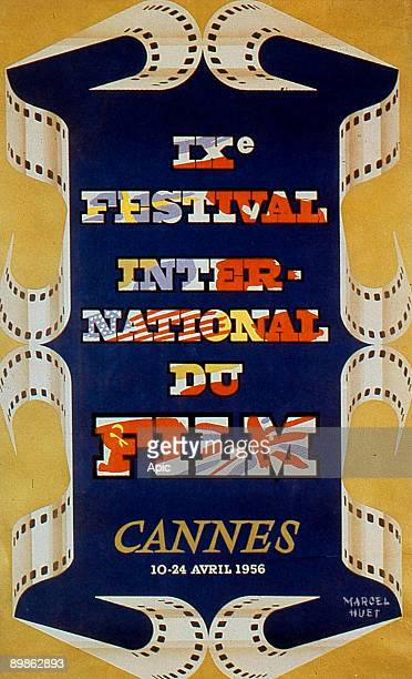 Poster by Marcel Huet for 9th International Film Festival in Cannes in 1956