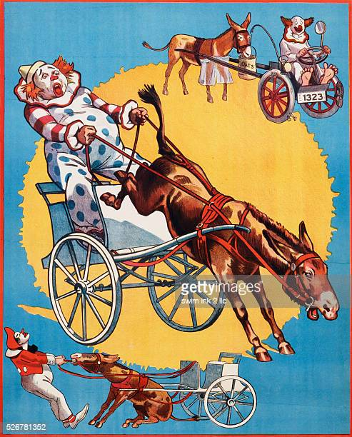 Poster Depicting Clowns and Donkeys