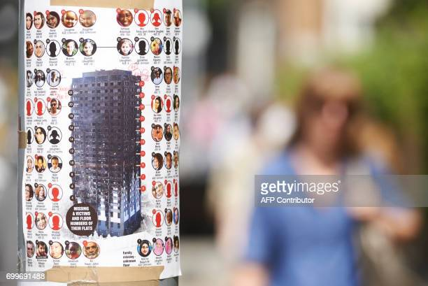 A poster displaying the names of people missing following the June 14 Grenfell Tower block fire is pictured on a lamp post in north Kensington west...