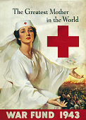 WWII poster entitled 'The Greatest Mother in the World' created for the 1943 War Fund by Lawrence Wilbur