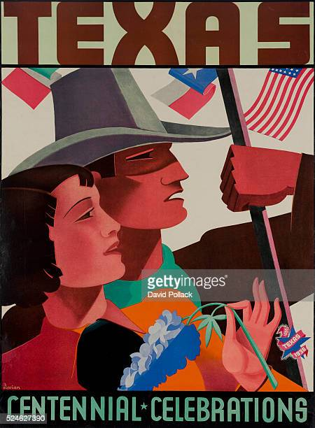 poster for 1936 Texas Centenniala man holding a Texas Flag and a woman holding a bluebonnet Illustrated in 1936 by Florian
