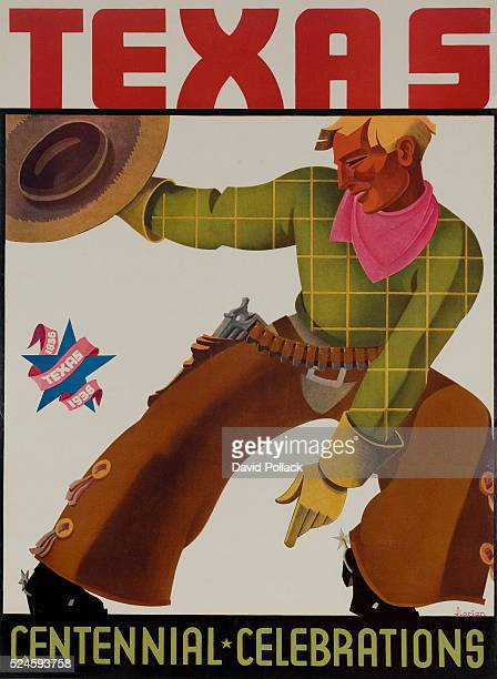 poster for 1936 Texas CentennialCowboy in chaps waving his hat illustrated by Florian