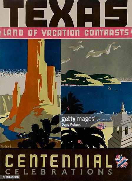 poster for 1936 Texas Centennialsplit images of desert landscape and coastal scene