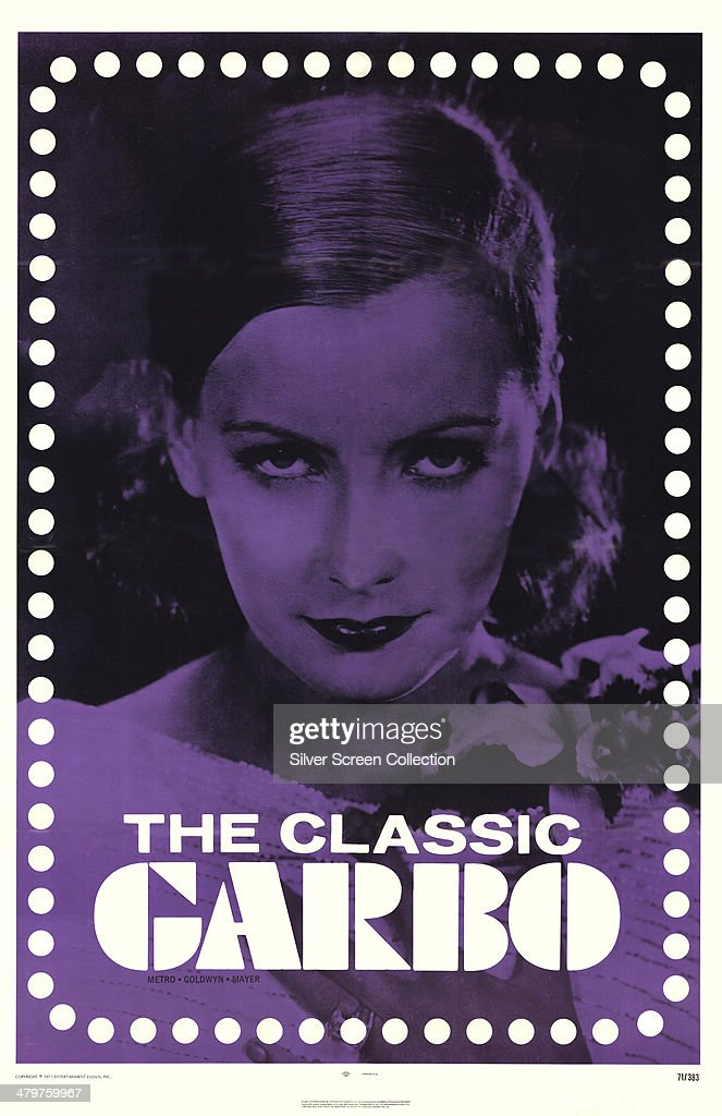 A poster for a 1971 MGM release entitled 'The Classic Garbo' featuring a portrait of Swedish actress Greta Garbo