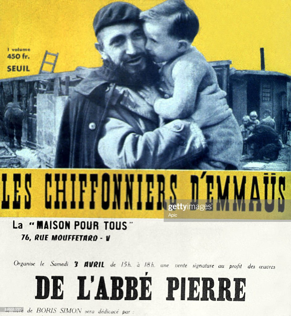 Poster for a book by Boris Simon 'Les Chiffonniers d' Emmaus' (1971) which will be dedicated in aid of Abbe Pierre
