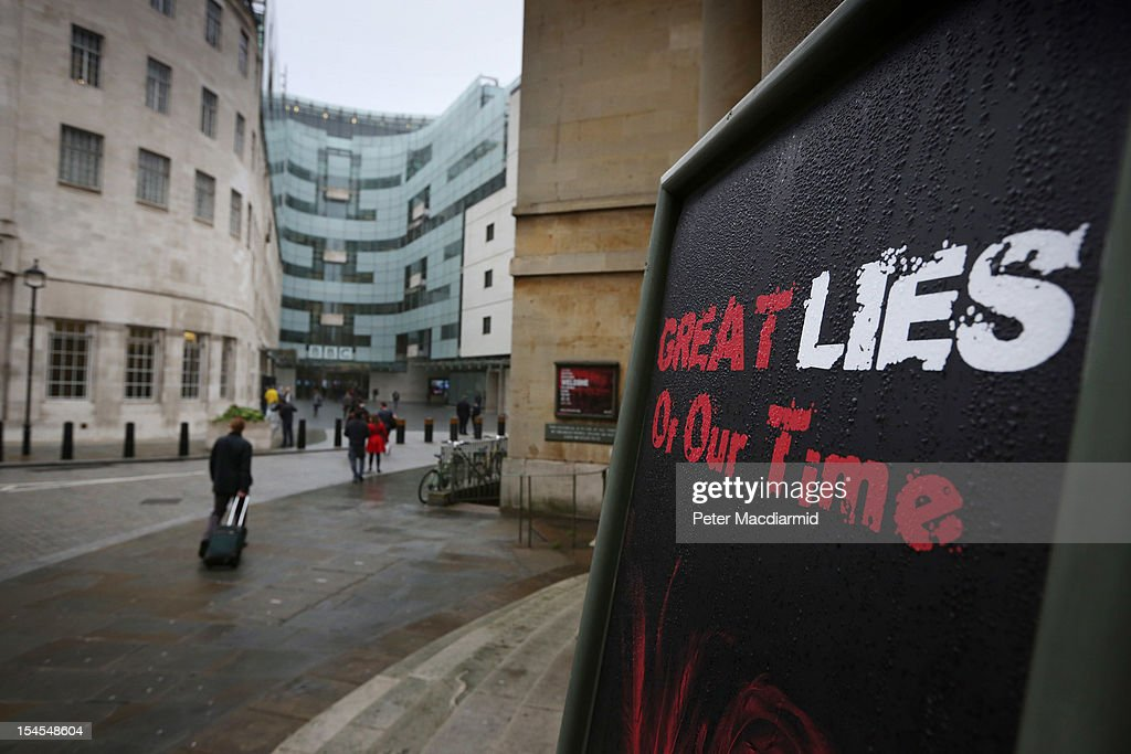 A poster for a series of church services is displayed opposite BBC Broadcasting House on October 22, 2012 in London, England. A BBC1 'Panorama' documentary to be broadcast later tonight contains new allegations about the handling by BBC2 programme 'Newsnight' concerning claims of sexual abuse allegedly carried out by fomer BBC television presenter, Jimmy Savile, the transmission of which was subsequently dropped. Police have confirmed that Sir Jimmy Savile, the BBC presenter and DJ who died in October 2011 aged 84, may have sexually abused young girls on BBC premises.
