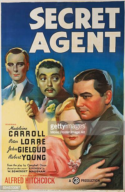 A poster for Alfred Hitchcock's 1936 thriller 'Secret Agent' starring John Gielgud Peter Lorre Madeleine Carroll and Robert Young
