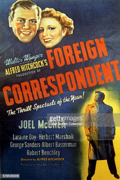 A poster for Alfred Hitchcock's 1940 spy thriller 'Foreign Correspondent' starring Joel McCrea and Laraine Day