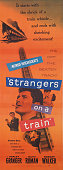 A poster for Alfred Hitchcock's 1951 crime film 'Strangers on a Train' starring Farley Granger