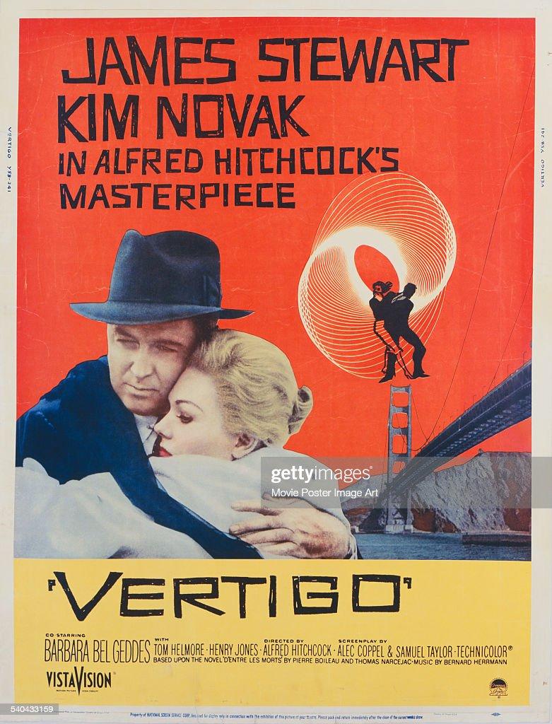 A poster for Alfred Hitchcock's 1958 psychological thriller, 'Vertigo', starring James Stewart and Kim Novak.