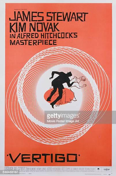 A poster for Alfred Hitchcock's 1958 psychological thriller 'Vertigo' starring James Stewart and Kim Novak