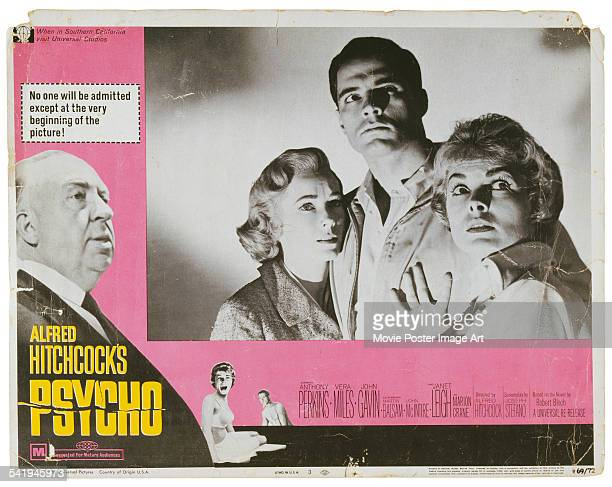 A poster for Alfred Hitchcock's 1960 horror 'Psycho' starring Janet Leigh Vera Miles and John Gavin