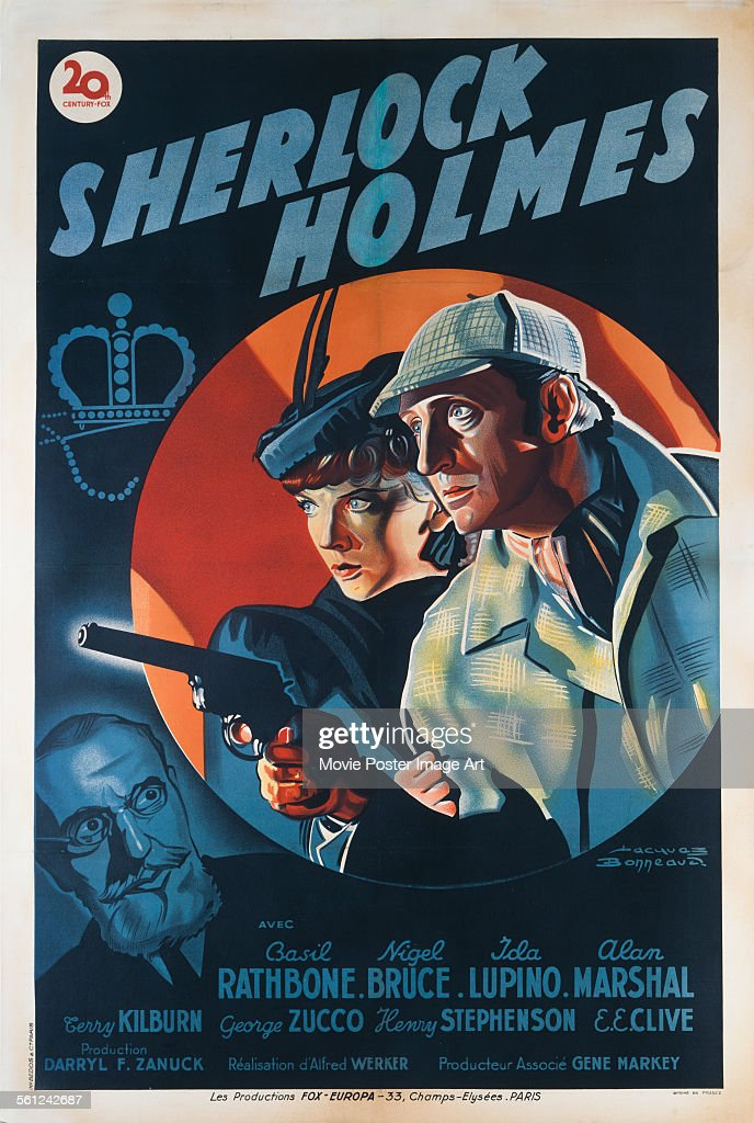 A poster for Alfred L. Werker's 1939 crime film 'The Adventures of Sherlock Holmes' starring <a gi-track='captionPersonalityLinkClicked' href=/galleries/search?phrase=Basil+Rathbone&family=editorial&specificpeople=93122 ng-click='$event.stopPropagation()'>Basil Rathbone</a> and <a gi-track='captionPersonalityLinkClicked' href=/galleries/search?phrase=Ida+Lupino&family=editorial&specificpeople=214077 ng-click='$event.stopPropagation()'>Ida Lupino</a>.