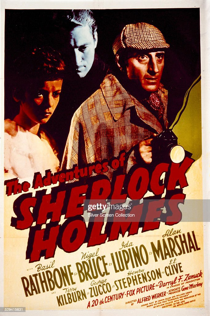 A poster for Alfred L. Werker's 1939 mystery adventure 'The Adventures Of Sherlock Holmes', featuring (left to right) <a gi-track='captionPersonalityLinkClicked' href=/galleries/search?phrase=Ida+Lupino&family=editorial&specificpeople=214077 ng-click='$event.stopPropagation()'>Ida Lupino</a>, Alan Marshal and <a gi-track='captionPersonalityLinkClicked' href=/galleries/search?phrase=Basil+Rathbone&family=editorial&specificpeople=93122 ng-click='$event.stopPropagation()'>Basil Rathbone</a>. The film was released as 'Sherlock Holmes' in the UK.