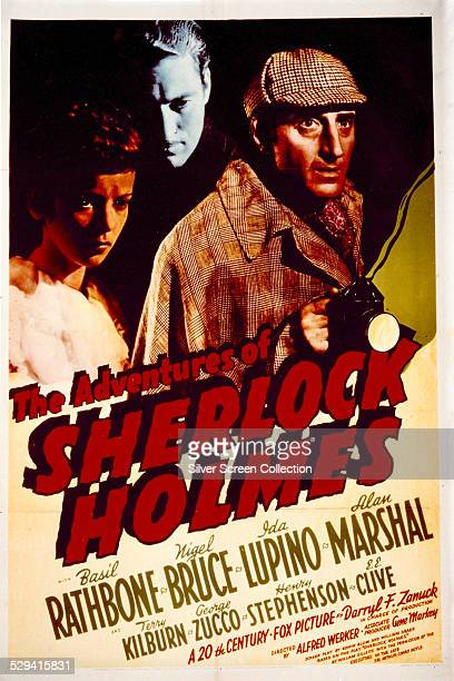 A poster for Alfred L Werker's 1939 mystery adventure 'The Adventures Of Sherlock Holmes' featuring Ida Lupino Alan Marshal and Basil Rathbone The...