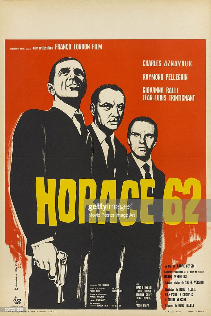 A poster for André Versini's 1962 drama 'Horace 62' starring Charles Aznavour and Raymond Pellegrin