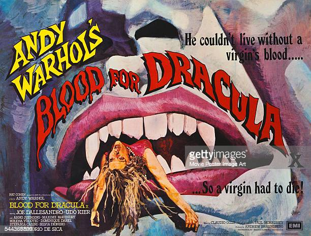A poster for Andy Warhol and Paul Morrissey's 1974 horror film 'Blood for Dracula' starring Udo Kier