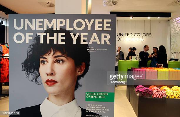 A poster for Benetton Group SpA's new advertising campaign 'Unemployee of the Year' stands inside the company's store on Brompton Road in London UK...