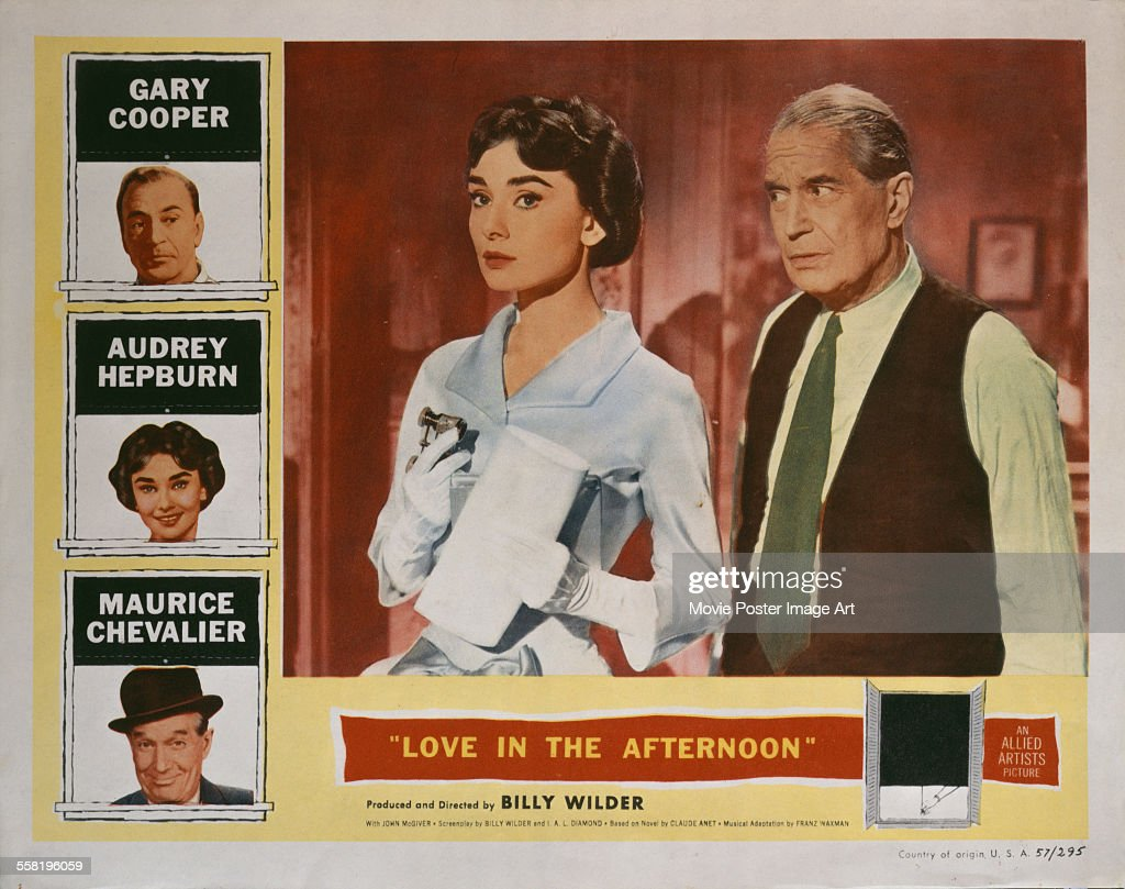 A poster for Billy Wilder's 1957 comedy 'Love in the Afternoon' starring <a gi-track='captionPersonalityLinkClicked' href=/galleries/search?phrase=Gary+Cooper&family=editorial&specificpeople=93434 ng-click='$event.stopPropagation()'>Gary Cooper</a>, <a gi-track='captionPersonalityLinkClicked' href=/galleries/search?phrase=Audrey+Hepburn&family=editorial&specificpeople=86470 ng-click='$event.stopPropagation()'>Audrey Hepburn</a>, and <a gi-track='captionPersonalityLinkClicked' href=/galleries/search?phrase=Maurice+Chevalier&family=editorial&specificpeople=209320 ng-click='$event.stopPropagation()'>Maurice Chevalier</a>.