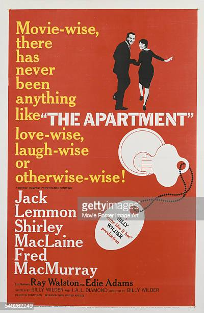 A poster for Billy Wilder's 1960 comedydrama 'The Apartment' starring Jack Lemmon and Shirley MacLaine
