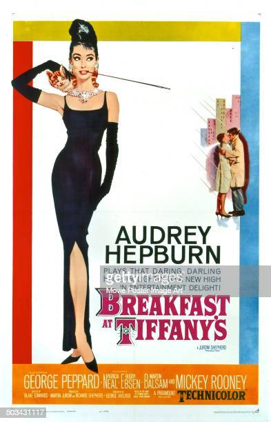 A poster for Blake Edwards' 1961 romantic comedy 'Breakfast at Tiffany's' starring Audrey Hepburn