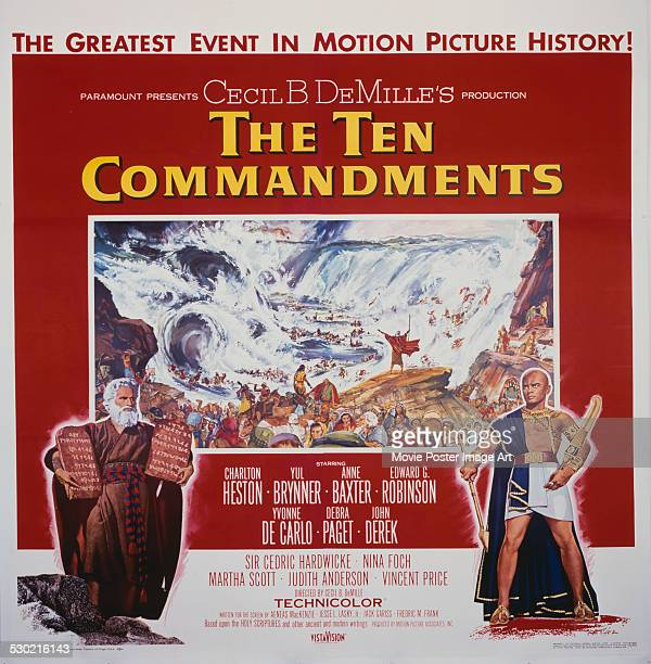 A poster for Cecil B DeMille's 1956 drama 'The Ten Commandments' starring Charlton Heston and Yul Brynner