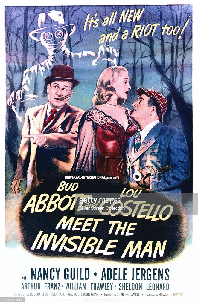 A poster for Charles Lamont's 1951 comedy horror film 'Abbott And Costello Meet The Invisible Man', starring (left to right) <a gi-track='captionPersonalityLinkClicked' href=/galleries/search?phrase=Lou+Costello&family=editorial&specificpeople=123845 ng-click='$event.stopPropagation()'>Lou Costello</a>, Nancy Guild and <a gi-track='captionPersonalityLinkClicked' href=/galleries/search?phrase=Bud+Abbott&family=editorial&specificpeople=228402 ng-click='$event.stopPropagation()'>Bud Abbott</a>.