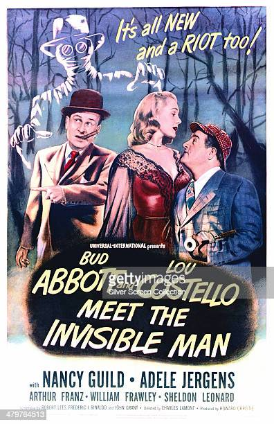 A poster for Charles Lamont's 1951 comedy horror film 'Abbott And Costello Meet The Invisible Man' starring Lou Costello Nancy Guild and Bud Abbott