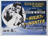 A poster for Charles Laughton's 1955 crime film 'The Night of the Hunter' starring Robert Mitchum and Shelley Winters