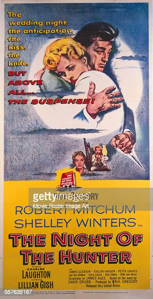 A poster for Charles Laughton's 1955 drama 'The Night of the Hunter' starring Robert Mitchum and Shelley Winters