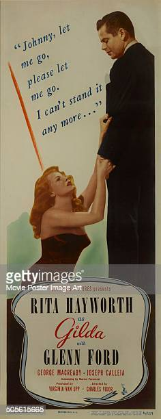 A poster for Charles Vidor's 1946 drama 'Gilda' starring Rita Hayworth and Glenn Ford