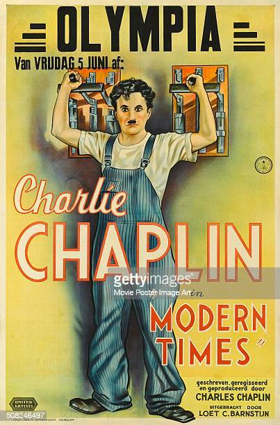A poster for Charlie Chaplin's 1936 comedy 'Modern Times'