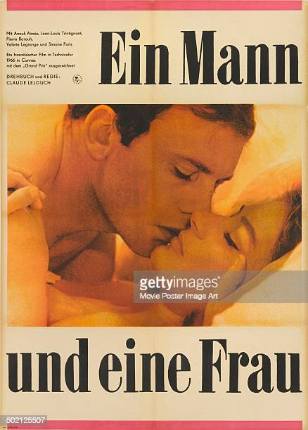 A poster for Claude Lelouch's 1966 romantic drama 'A Man and a Woman' starring Anouk Aimée and JeanLouis Trintignant